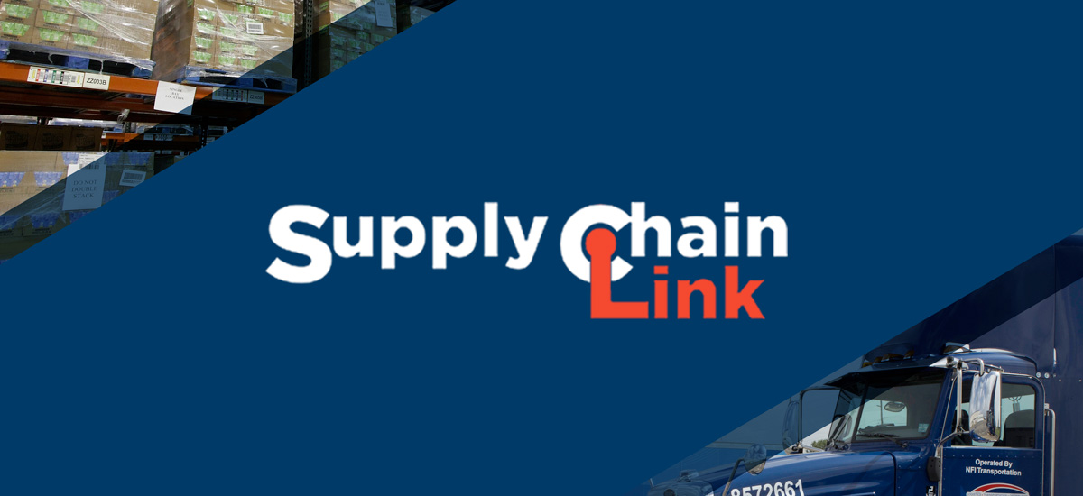 Supply chain link graphic banner with blue truck and warehouse boxes in background