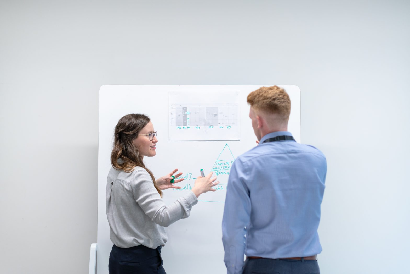 two transportation management engineers discussing graphs in front of a white board